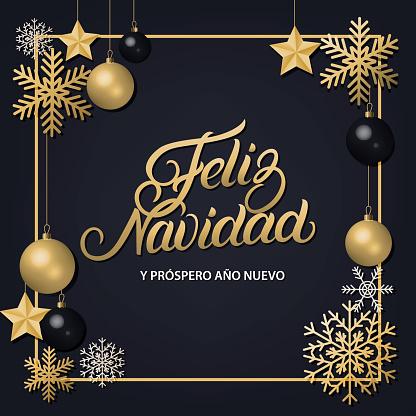 Feliz Navidad hand written lettering with golden decoration ornament.