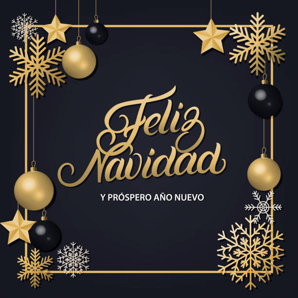 Feliz Navidad hand written lettering with golden decoration ornament. Feliz Navidad hand written lettering with golden decoration ornament. Merry Christmas typography in spanish. Frame with snowflakes, stars and balls. Trendy design. Premium luxury card. Vector. navidad stock illustrations