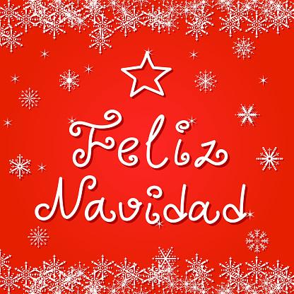 Feliz Navidad handwriting greeting card