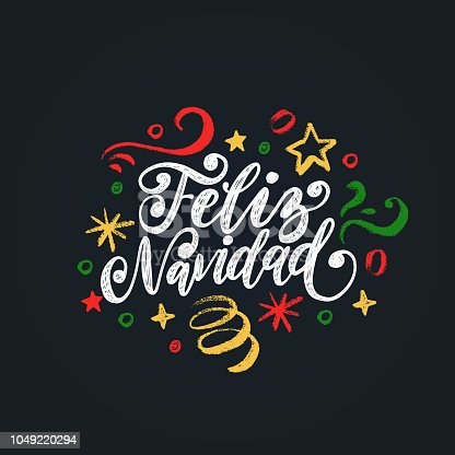Feliz Navidad, handwritten phrase, translated from Spanish Marry Christmas. Vector New Year Tinsel illustration on black background.