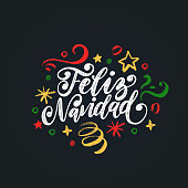 Feliz Navidad, handwritten phrase, translated from Spanish Marry Christmas. Vector New Year Tinsel illustration.