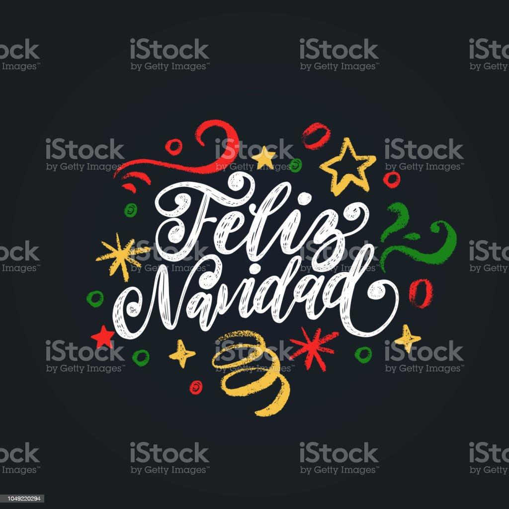 Feliz Navidad, handgeschreven zin, vertaald uit het Spaans Marry Kerstmis. Nieuwjaar Tinsel vectorillustratie.vectorkunst illustratie