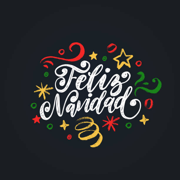 illustrations, cliparts, dessins animés et icônes de feliz navidad, expression manuscrite, traduit de l'espagnol épouser noël. illustration de vecteur de clinquant de nouvel an. - espagne