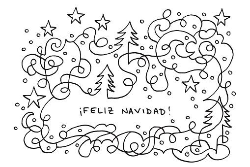 Feliz Navidad Happy Holidays Winter Doodle Drawing
