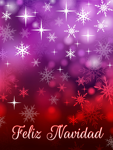 Feliz Navidad holiday Background with snowflakes