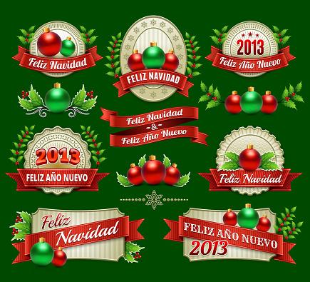 Feliz Navidad Holiday Season and Christmas Badges