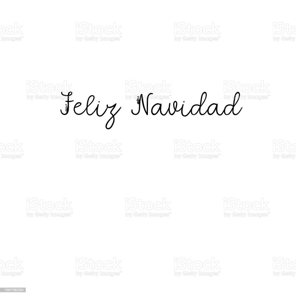 Feliz Navidad Lettering Greeting Card Merry Christmas In Spanish