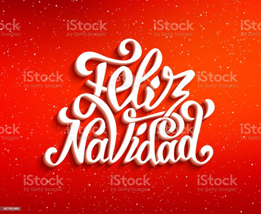 Feliz Navidad Lettering Merry Christmas Greetings Stock Vector Art