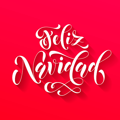 Feliz Navidad lettering. Spanish Merry Christmas