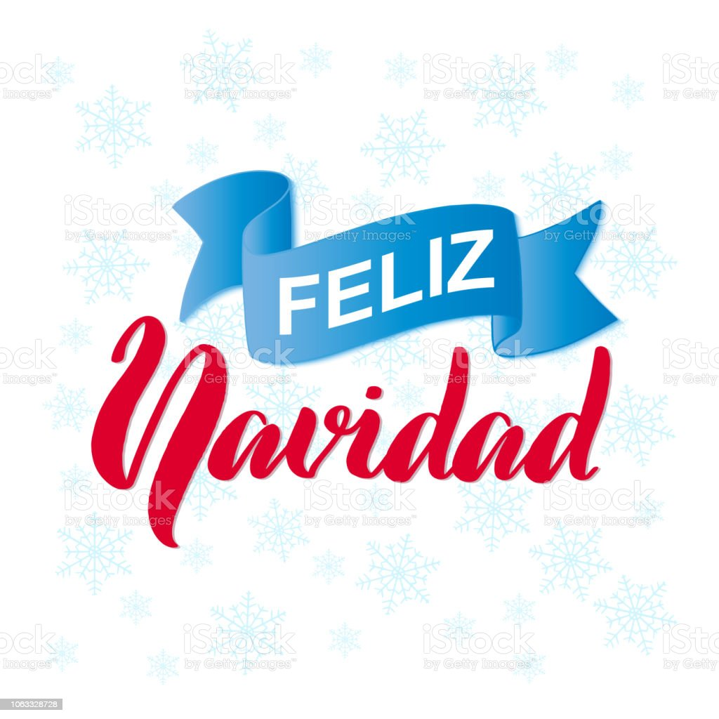 feliz navidad merry christmas calligraphy phrase in spanish language