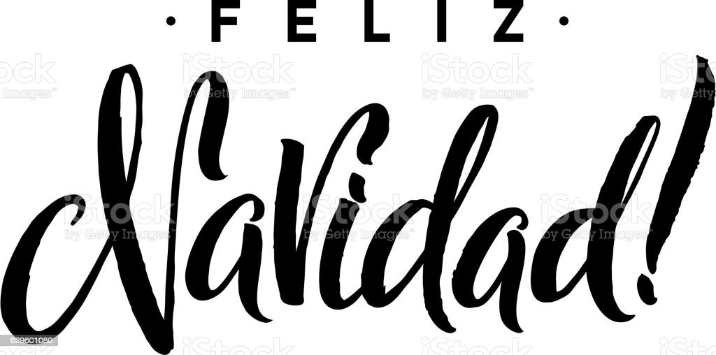 feliz navidad merry christmas calligraphy template in spanish