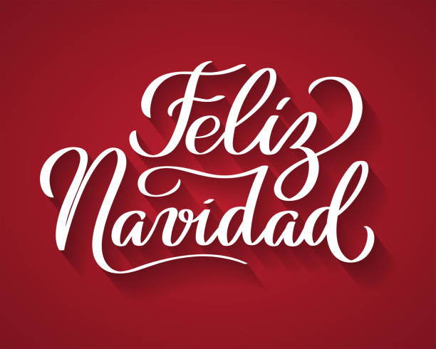 Feliz Navidad - Merry Christmas from Spanish. Feliz Navidad - Merry Christmas from Spanish. Hand-written text, words, typography, calligraphy, lettering. Vector white inscription on red background. For banner, flyer, poster, greeting card navidad stock illustrations