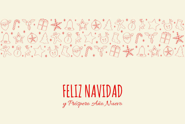 Feliz Navidad - Merry Christmas in Spanish. Concept of Christmas card with decoration. Vector. Feliz Navidad - Merry Christmas in Spanish. Concept of Christmas card with decoration. Vector. navidad stock illustrations