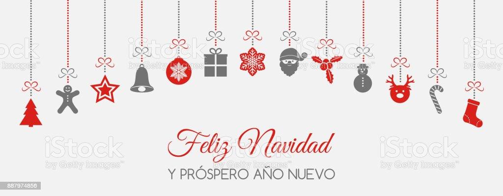 Feliz Navidad Merry Christmas In Spanish Concept Of Christmas Card