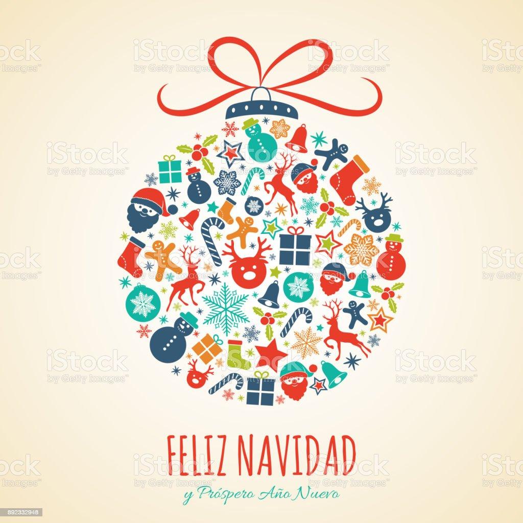 Feliz Navidad Merry Christmas In Spanish Concept Of Christmas Card ...