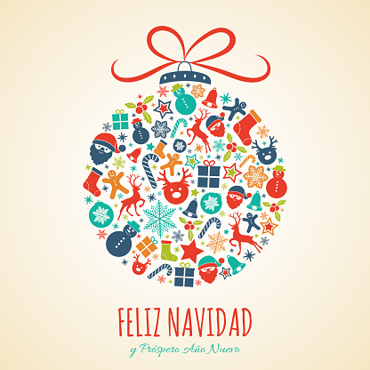 Feliz Navidad - Merry Christmas in Spanish. Concept of Christmas card with decoration. Vector.