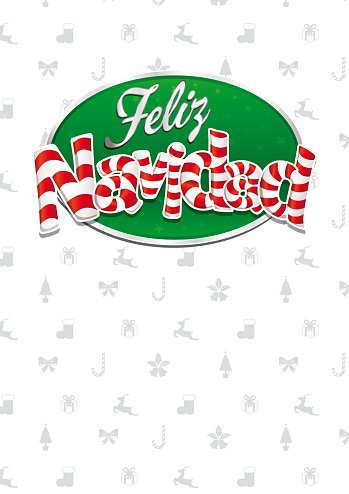 Feliz Navidad - Merry Christmas in Spanish language - White cover of greeting card with bows, reindeers, gifts and trees in background. Layout size: 21 cm x 29.7 cm. A4 size. Lettering design