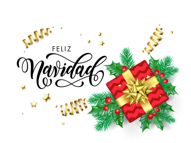 Feliz Navidad Merry Christmas Spanish calligraphy hand drawn text for greeting card background template. Vector Christmas tree holly wreath decoration, golden confetti ribbon on premium white design Feliz Navidad Merry Christmas Spanish calligraphy hand drawn text for greeting card background template. Vector Christmas tree holly wreath decoration, golden confetti ribbon on premium white design navidad stock illustrations