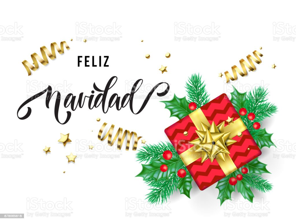 feliz navidad merry christmas spanish trendy quote calligraphy on white premium background for winter holiday design - Christmas Spanish