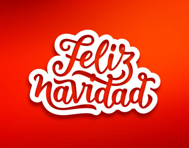 Feliz Navidad modern calligraphic lettering Feliz Navidad spanish Merry Christmas text on white paper label with carving over red background. Modern calligraphy lettering on sticker for season greetings. Vector background navidad stock illustrations