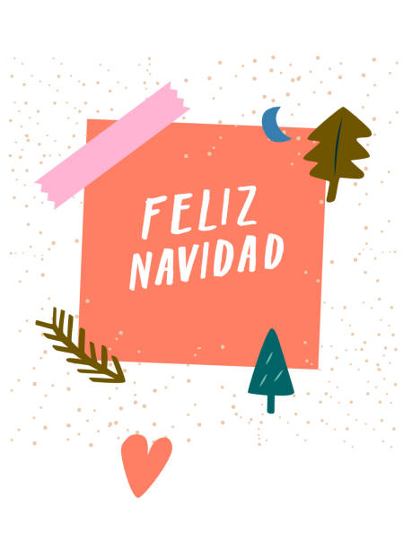 Feliz Navidad! Modern x-mas greeting card, cute Christmas card or postcard. Trendy vector design template for social media marketing quirky stationery. Pretty multi colored art poster, unique arty graphic with sticky note hand lettering cute decoration From the contemporary doodle Christmas greetings series. australian christmas stock illustrations