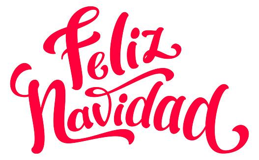 Feliz Navidad ornate text lettering translation spanish merry christmas