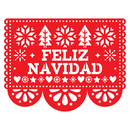 Feliz Navidad Papel Picado vector design, Mexican Xmas greeting card, red and white paper garland decoration pattern