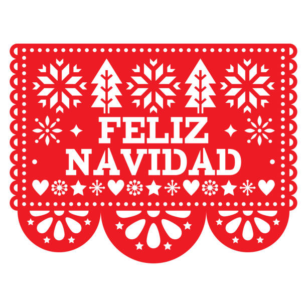 Feliz Navidad Papel Picado vector design, Mexican Xmas greeting card, red and white paper garland decoration pattern Festive red party banner inspired by garlands in Mexico with text, Christmas trees, stars, snowflakes and flowers navidad stock illustrations