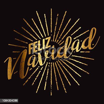istock Feliz Navidad Spanish Gold Foil Sunburst 1084304286