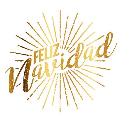 Feliz Navidad Spanish Gold Foil Sunburst