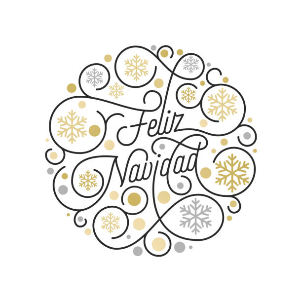 Feliz Navidad Spanish Merry Christmas calligraphy lettering and golden snowflake pattern on white background for greeting card design. Vector golden Christmas flourish swash holiday text decoration Feliz Navidad Spanish Merry Christmas calligraphy lettering and golden snowflake pattern on white background for greeting card design. Vector golden Christmas flourish swash holiday text decoration navidad stock illustrations