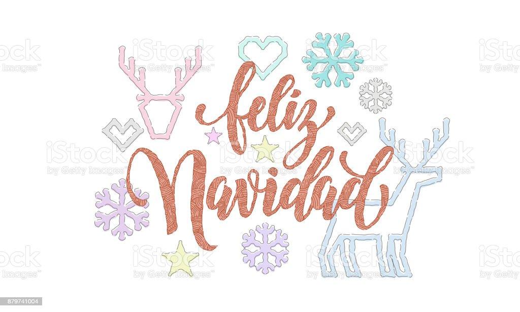 Ilustración de Feliz Navidad Español Feliz Navidad Bordado Fuente ...