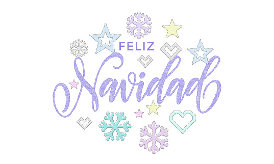 Feliz Navidad Spanish Merry Christmas embroidery font knitted decoration for holiday greeting card design. Vector Christmas calligraphy text, deer or snowflake decoration on white New Year background