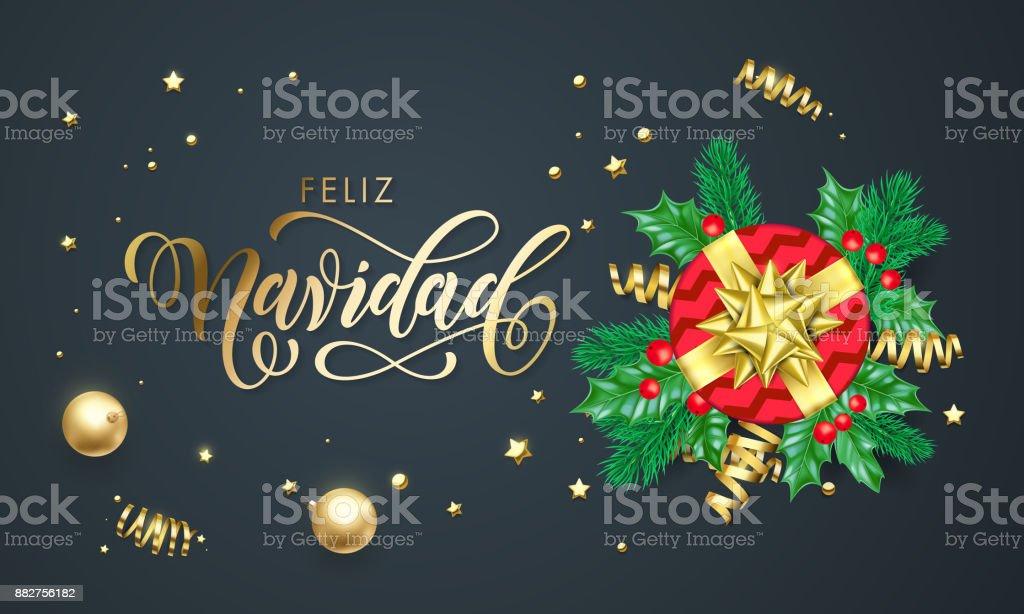 Feliz Navidad Spanish Merry Christmas Golden Decoration And Gold ...