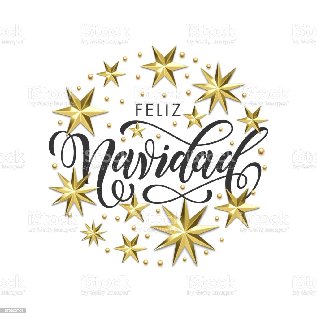 Feliz navidad spanish merry christmas golden decoration feliz navidad spanish merry christmas golden decoration calligraphy font for invitation or greeting card white kristyandbryce Images