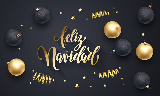 Feliz Navidad Spanish Merry Christmas golden decoration, calligraphy gold font for greeting card black background design. Vector Christmas, New Year holiday shiny star confetti star golden decoration Feliz Navidad Spanish Merry Christmas golden decoration, calligraphy gold font for greeting card black background design. Vector Christmas, New Year holiday shiny star confetti star golden decoration navidad stock illustrations