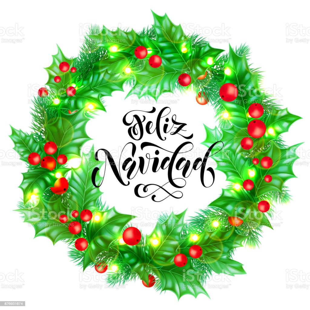 Feliz Navidad Spanish Merry Christmas Hand Drawn Calligraphy And