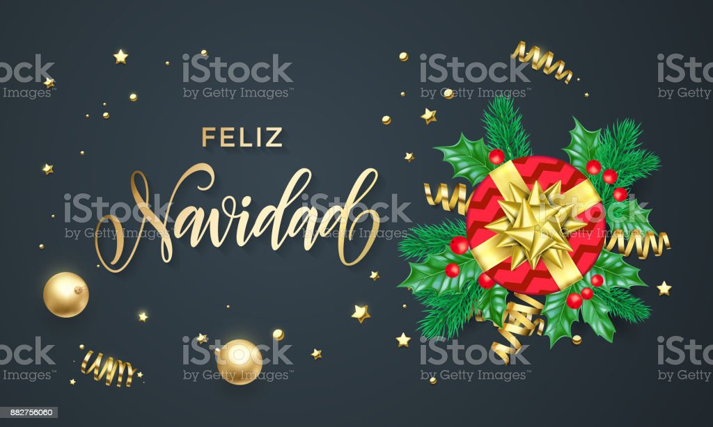 Feliz navidad spanish merry christmas holiday golden calligraphy and feliz navidad spanish merry christmas holiday golden calligraphy and gold decoration greeting card template vector m4hsunfo
