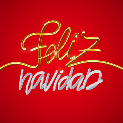 Feliz Navidad Spanish Merry Christmas holiday golden decoration