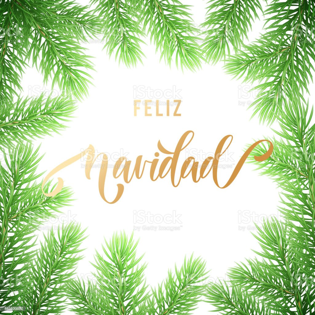 Feliz Navidad Spanish Merry Christmas Holiday Golden Hand Drawn