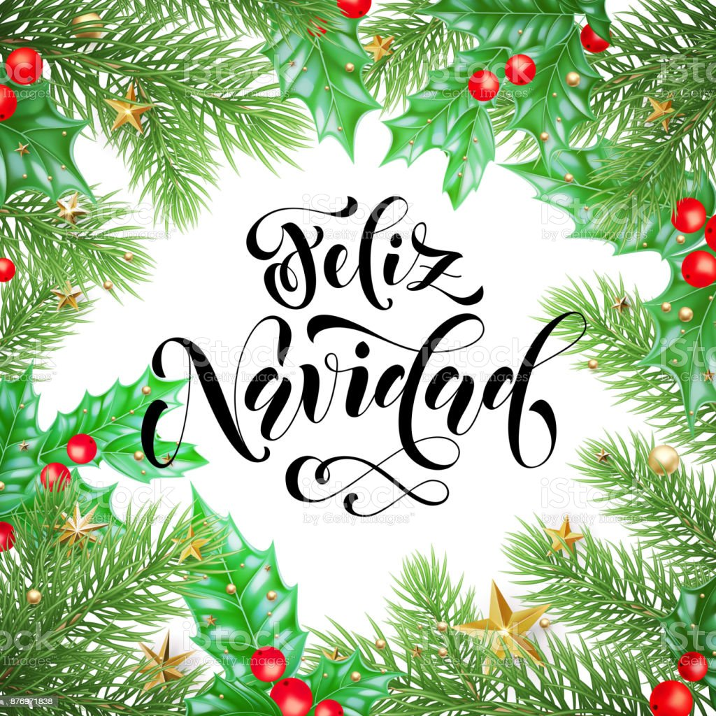 Christmas Spanish.Feliz Navidad Spanish Merry Christmas Holiday Hand Drawn