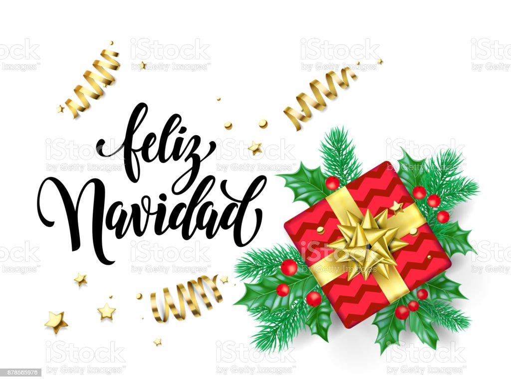 Feliz Navidad Spanish Merry Christmas Holiday Hand Drawn Calligraphy