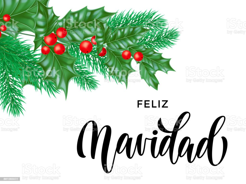Feliz navidad spanish merry christmas holiday hand drawn feliz navidad spanish merry christmas holiday hand drawn calligraphy text for greeting card background design template kristyandbryce Images
