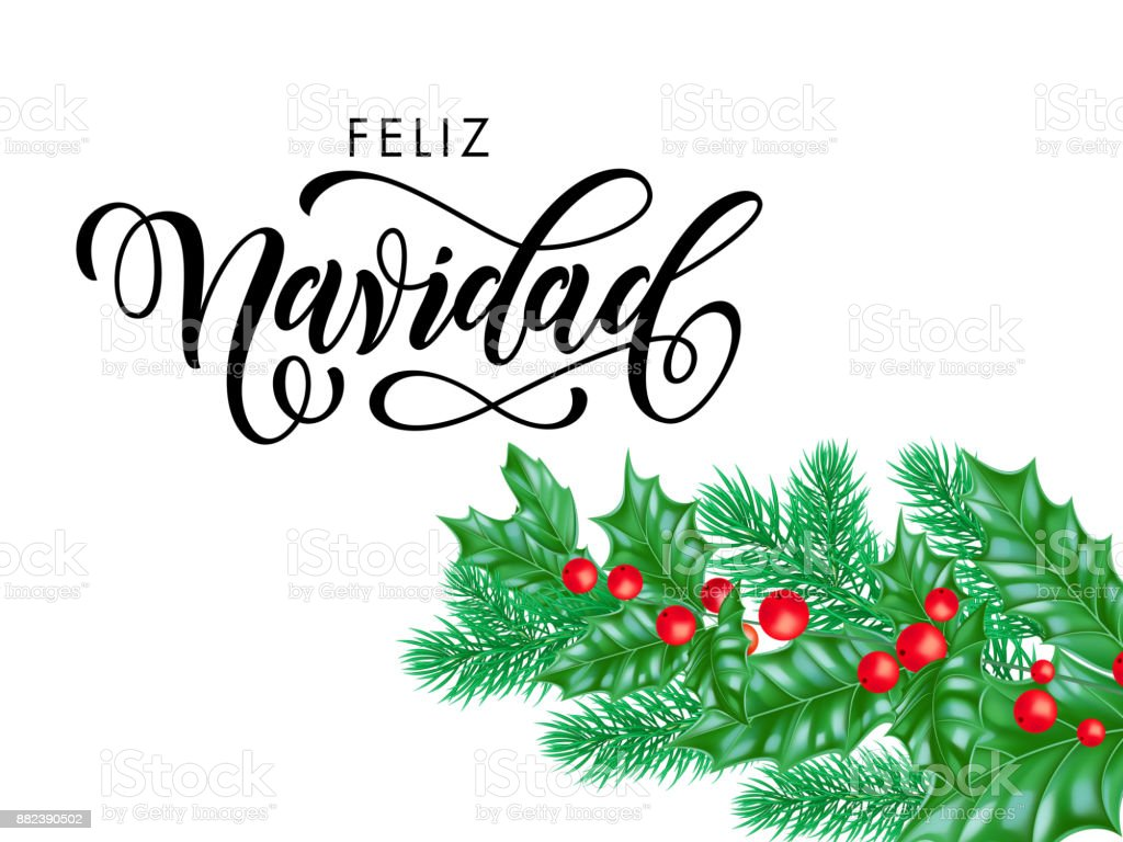 feliz navidad spanish merry christmas holiday hand drawn quote calligraphy lettering greeting card background template