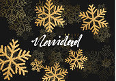 Feliz Navidad spanish text: translation Merry Christmas. background with shining gold snowflakes. Xmas festive greeting card vector Illustration.