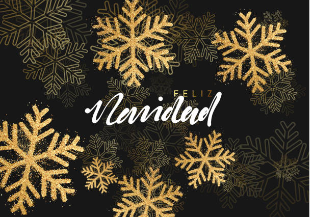 Feliz Navidad spanish text: translation Merry Christmas. background with shining gold snowflakes. Xmas festive greeting card vector Illustration. Feliz Navidad spanish text: translation Merry Christmas. background with shining gold snowflakes. Xmas festive greeting card vector Illustration. navidad stock illustrations