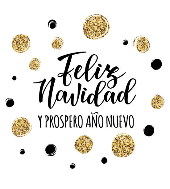 'Feliz navidad' Spanish typography lettering. Vector illustration of a sketch greeting holiday red card and a circle frame decoration. 'Feliz Navidad y Prospero Ano Nuevo' Spanish Merry Christmas and Happy New Year. navidad stock illustrations