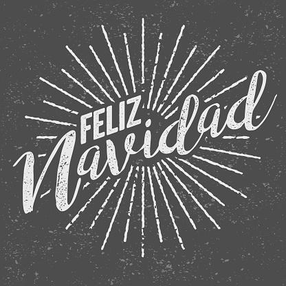 Feliz Navidad Spanish ('Merry Christmas') Vintage Screen Print