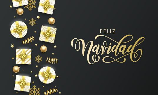 Feliz Navidad Spansih Merry Christmas golden greeting card on premium black background. Vector Christmas calligraphy lettering, gifts, snowflakes and gold glitter stars