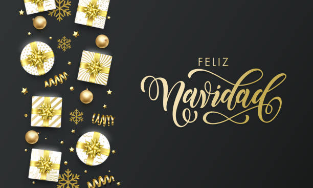 Feliz Navidad Spansih Merry Christmas golden greeting card on premium black background. Vector Christmas calligraphy lettering, gifts, snowflakes and gold glitter stars Feliz Navidad Spansih Merry Christmas golden greeting card on premium black background. Vector Christmas calligraphy lettering, gifts, snowflakes and gold glitter stars navidad stock illustrations